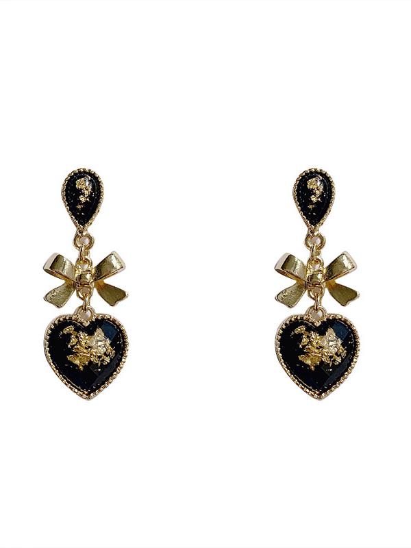 Vintage Style Bow Heart Dangle Earrings