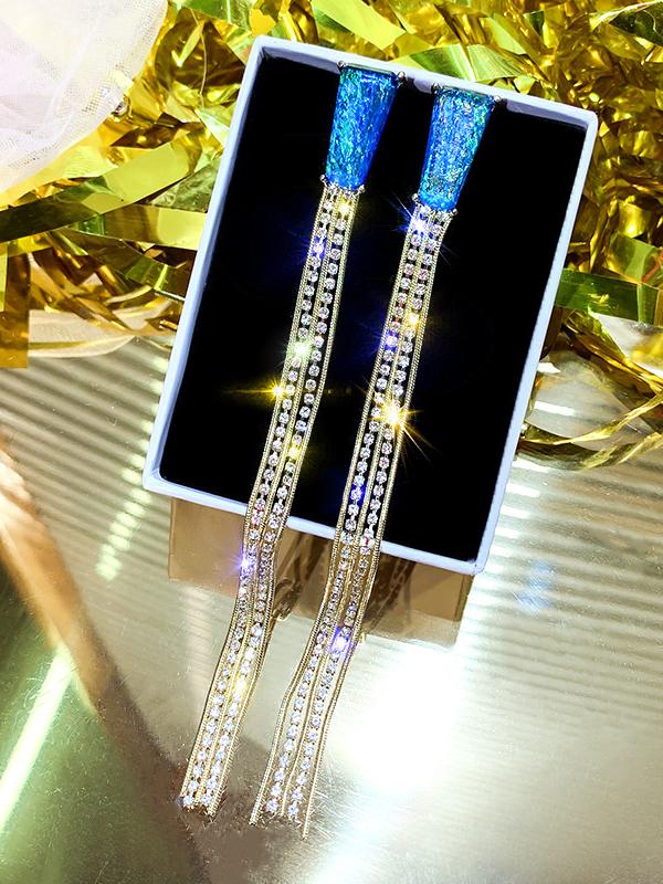 Stylish Rhinestone Long Tassel Earrings