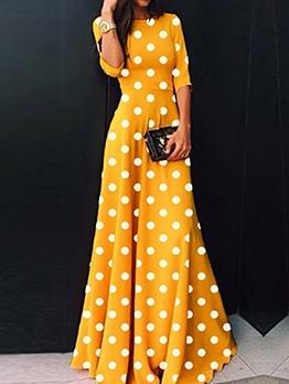 Fashion Polka Dots Half Sleeve Maxi Dress