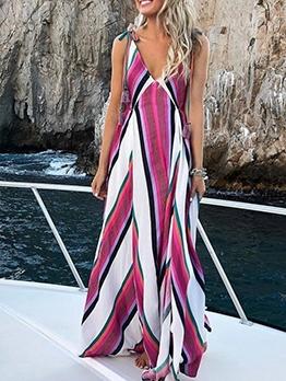 Deep v Contrast Color Striped Maxi Dress