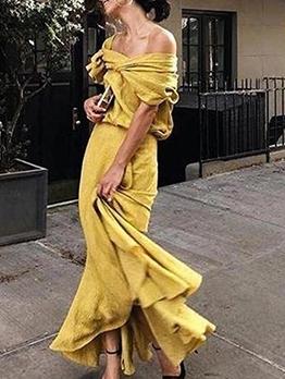 Euro Off Shoulder Ruffled Maxi Dress