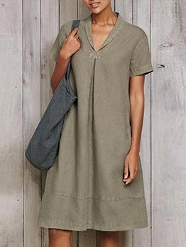 V Neck Solid Short Sleeve Ladies Dress