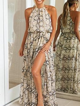 Snake Skin Printed Sleeveless Maxi Dresses