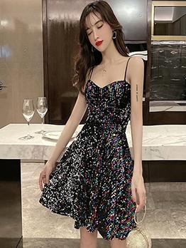 Deep V Neck Sleeveless Sequin Short Dress