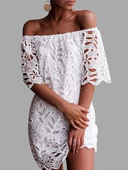 Hook Flower Short Sleeve Off The Shoulder Short Dress