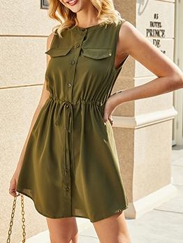 Single-Breasted Smart Waist Sleeveless Army Green Dress