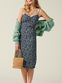 Vintage Ditsy Printed v Neck Slip Ladies Dress