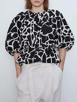Trendy Color Block Three Quarter Puff Sleeve Blouse