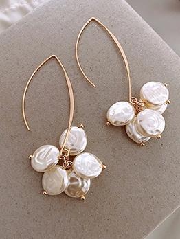 Unique Design Irregular Faux Pearl Long Earrings