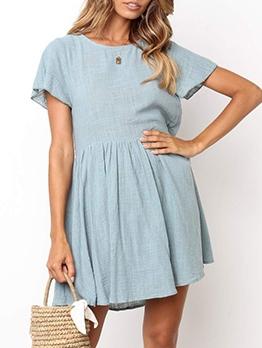 Simple Crew Neck Solid Short Sleeve Dress