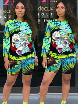 Cartoon Print Casual Long Sleeve Two Piece Short Set