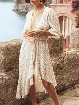 Deep v Printed Long Sleeve Midi Dress