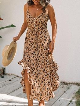 Deep v Frill Leopard Camisole Maxi Dresses