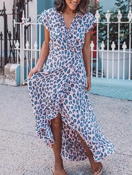 V Neck Short Sleeve Wrap Printed Maxi Dress