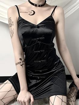 Vintage Cheongsam Style Black Sleeveless Dress