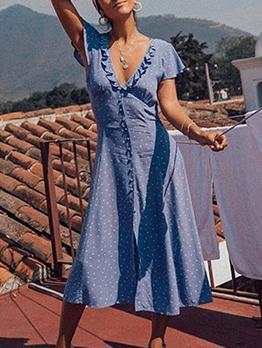 Sweet Polka Dots Stringy Selvedge Maxi Dresses