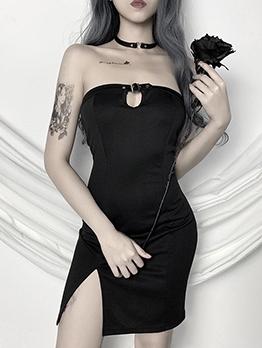 High Waist Split Hem Black Strapless Summer Dress