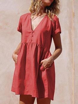 Dual Pockets Solid v Neck Ladies Dress