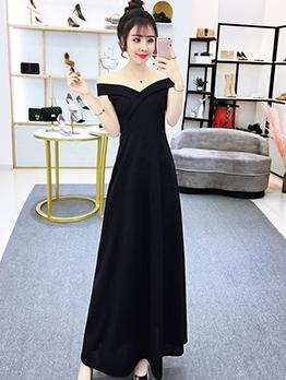 V Neck Solid Off The Shoulder Evening Dress