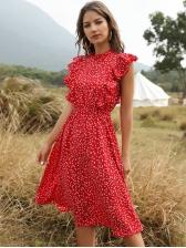 Ruffle Sleeve Heart Print Red Dress For Summer