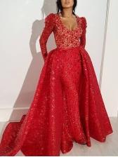 Deep V Neck Large Hem Red Long Sleeve Formal Dresses