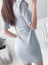 Simple Embroidery Short Sleeve Cotton T-Shirt Dress