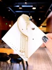 Butterfly Tassel Faux Pearl Pendant Ear Cuff