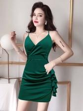 Ruffle Detail Sexy V Neck Sleeveless Dress