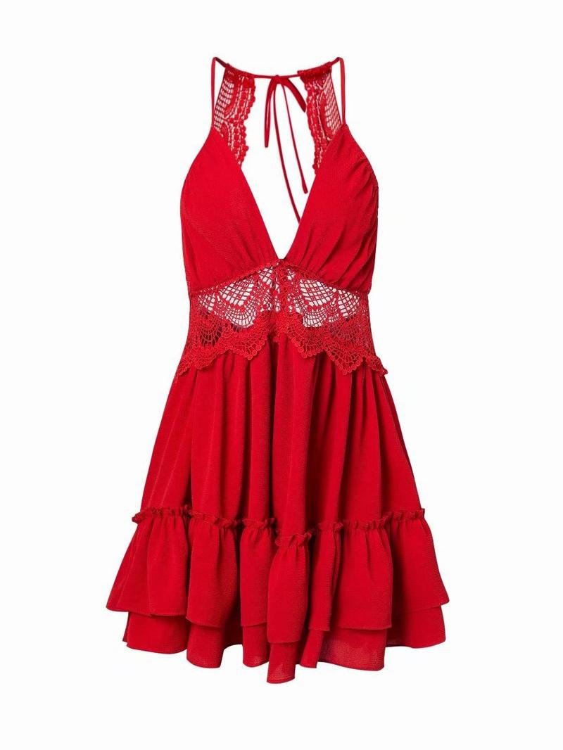 Lace Patchwork Flounced Hem Halter Neck Dress