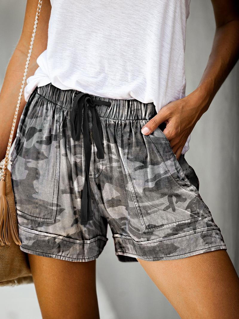 Drawstring Printed Casual Short Pants