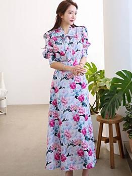Korean Style Tie Neck Floral Long Sleeve Shirt Dress