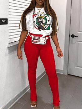 Contrast Color Printed Split Bottom Two Piece Pants Set