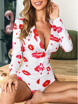 Button Up V Neck Printed Long Sleeve Bodysuit