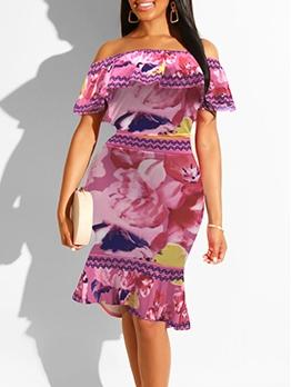 Off Shoulder Ruffled Flower Printed Two Piece Skirt Set