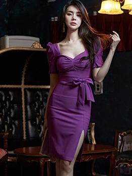 Elegant v Neck Split Short Sleeve Dress