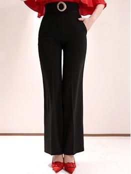 High Waist Side Pocket Black Plain Long Pants