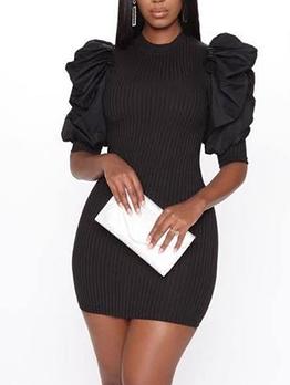 Puff Sleeve Black Bodycon Mini Dress