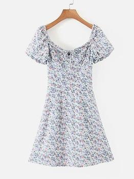 Stylish Ditsy Floral Printed Short Sleeve Dress