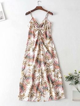 Botanic Printed Drawstring Slip Maxi Dresses