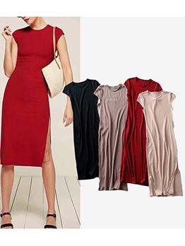 Ribbed Knitting Solid Slit Short Sleeve Dress