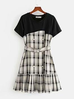 Fashion Short Sleeve Plaid Dress For Women