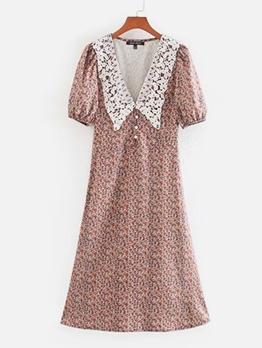 Vintage Doll Collar Short Sleeve Print A-Line Dress
