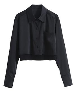 Chic Turndown Collar Irregular Length Black Blouse