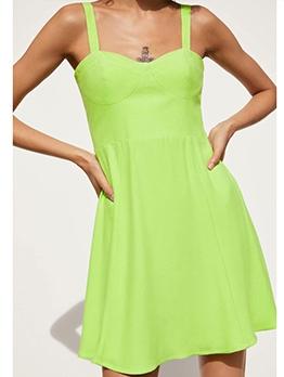Euro Hot Sale Green Sleeveless A-Line Dress