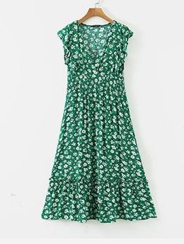 Deep V Neck Smart Waist Green Floral Midi Dress