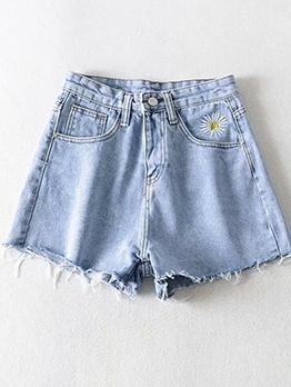 Daisy Embroidery High Waist Denim Hot Pants