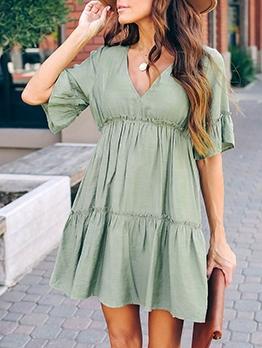 V Neck Cotton Solid Summer Dresses