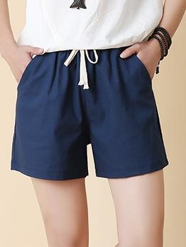 Summer Solid Drawstring Straight Short Pants