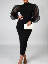 Mock Neck Gauze Lantern Sleeve Black Maxi Dress