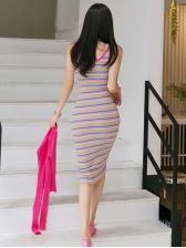 U Neck Striped Sleeveless Summer Dress